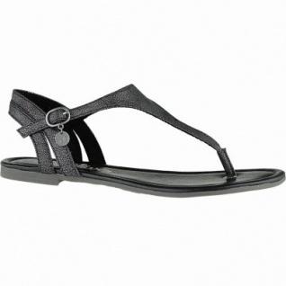 s.Oliver zarte Damen Leder Imitat Sandalen black metallic, weiches Soft-Foam-Fußbett, 1440101/36
