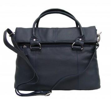 Dolphin Damen Leder Shopper dunkelblau, Leder Business Tasche, 4 Fächer, ca. 39x29x8 cm
