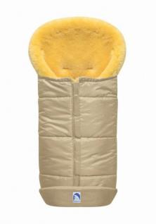 großer Baby Premium Winter Lammfell Fußsack beige waschbar, Kinderwagen, Buggy, ca. 100x44 cm, komplett aufklappbar