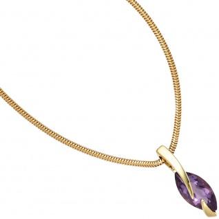 Anhänger 585 Gold Gelbgold 1 Amethyst lila violett Goldanhänger