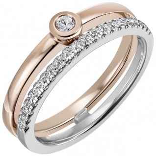 Damen Ring 585 Gold Weißgold Rotgold bicolor 22 Diamanten Brillanten