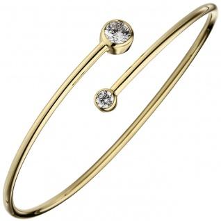 Armreif Armband 925 Sterling Silber gold vergoldet 2 Zirkonia