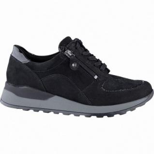 Waldläufer Hiroko-Soft Damen Leder Sneakers schwarz, Extra Weite H, Leder Fußbett, für lose Einlagen, 1341118/4.0