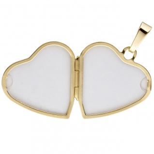 Medaillon Herz Anhänger zum Öffnen für Fotos 333 Gold 1 Zirkonia mit Kette 50 cm
