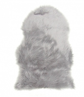 Lammfell Teppich Kunstfell grau, Schaffell Imitat, 100% Acryl, ca. 90x60 cm, ...