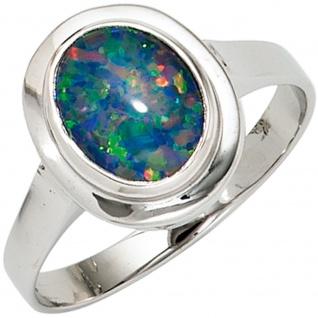 Damen Ring 585 Gold Weißgold 1 Opal-Triplette Weißgoldring Opalring