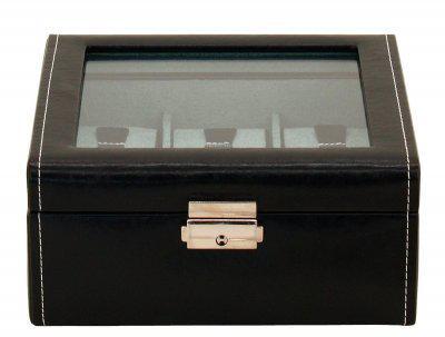 Friedrich Lederwaren modischer Kunstleder Uhrenkasten mit Schloss, Glasdeckel für 6 Uhren schwarz, Serie Bond, ca. 18x18x8, 5 cm