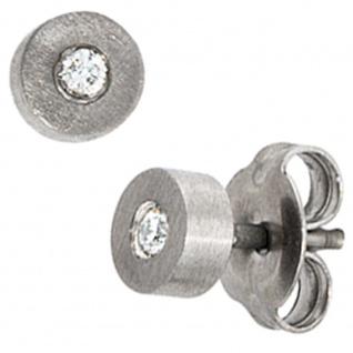 Ohrstecker Titan matt 2 Diamanten Brillanten 0, 06ct. Ohrringe
