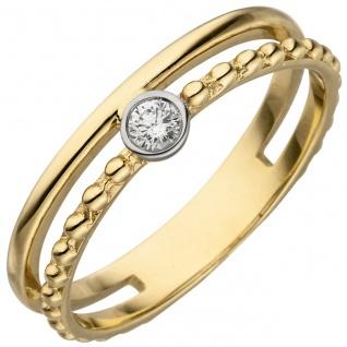 Damen Ring 2-reihig 585 Gold Gelbgold 1 Diamant Brillant 0, 07ct. Diamantring