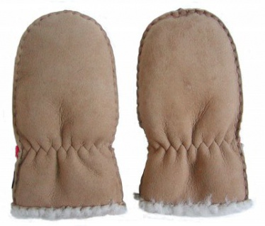 Lammfell Handschuhe Babys camel, Baby Fell Fäustlinge, Größe L