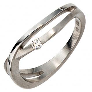 Damen Ring 950 Platin matt 1 Diamant Brillant 0, 05ct. Platinring