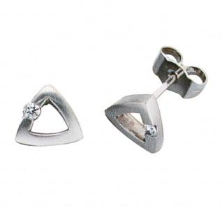 Ohrstecker dreieckig 950 Platin mattiert 2 Diamanten Brillanten Ohrringe