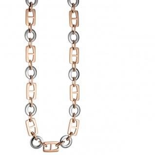 Collier Halskette aus Edelstahl rotgold farben beschichtet bicolor 47 cm Kette