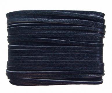 weiches Leder Flechtband Ziegenleder auf Karte dunkelblau, Länge 10 m, Breite...
