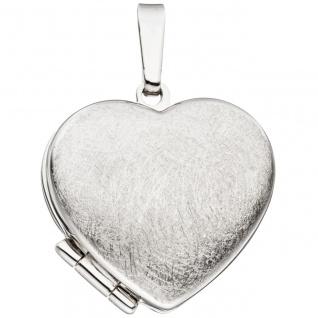 Medaillon Herz für 2 Fotos 925 Sterling Silber eismatt Anhänger zum Öffnen - Vorschau 2