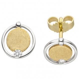 Ohrstecker 585 Gold Gelbgold bicolor eismatt 2 Diamanten Brillanten Ohrringe