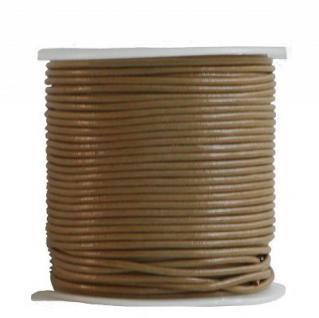 endlos Rindleder Rundlederriemen Rolle beige glatt, für Lederschmuck, Lederarmbänder, Länge 50 m, Ø 2 mm