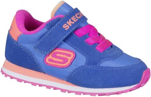 SKECHERS Mädchen Leder Lauflern Klettschuhe blue, weiches Fußbett
