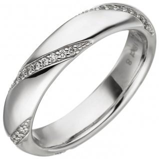 Damen Ring 585 Gold Weißgold 40 Diamanten Brillanten 0, 18ct. Weißgoldring