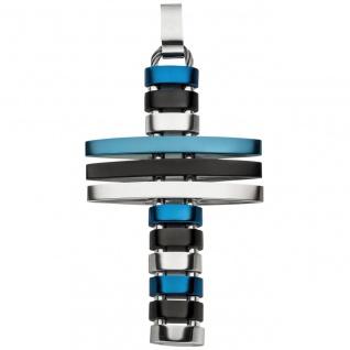 Anhänger Kreuz Edelstahl mit blauer und schwarzer PVD-Beschichtung flexibel