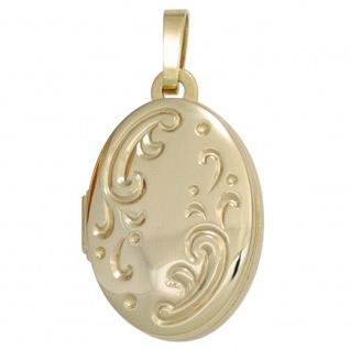 Medaillon oval 333 Gold Gelbgold mattiert Anhänger zum Öffnen