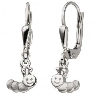 Kinder Ohrhänger Raupe 925 Sterling Silber mattiert Ohrringe Kinderohrringe