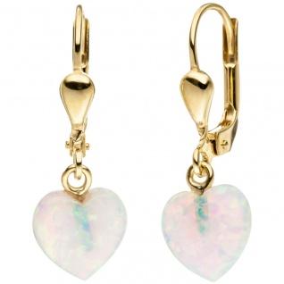 Ohrhänger Herz 333 Gold Gelbgold 2 Opale Ohrringe Goldohrringe Opalohrringe