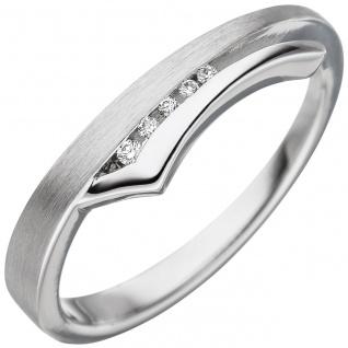 Damen Ring 585 Gold Weißgold teil matt 5 Diamanten Brillanten Weißgoldring