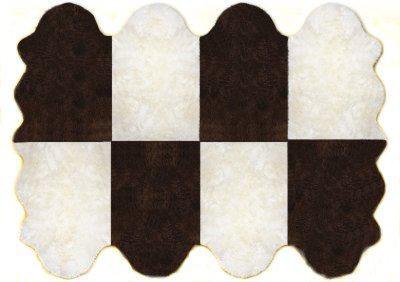 Fellteppiche naturweiß-braun aus 8 Lammfellen, Größe ca. 185 x 235 cm, 30 Grad waschbar