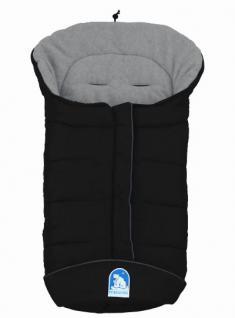 molliger Baby Winter Fleece Fußsack schwarz-grau, voll waschbar, für Kinderwagen, Buggy, ca. 98x47cm