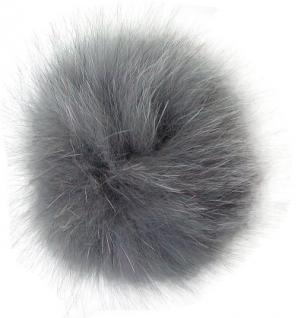 Echt Fuchsfell Fellbommeln grau, Ø ca. 10 cm, mit Band oder Schlaufe
