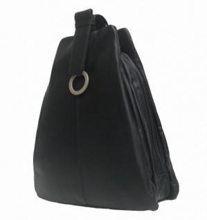 sportlich-eleganter Damen Leder Stadtrucksack schwarz, 3 separate Fächer - Vorschau 2