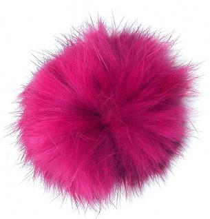 Echt Kaninchenfell Fellbommeln pink, Ø ca. 5 cm, mit Lederschlaufe