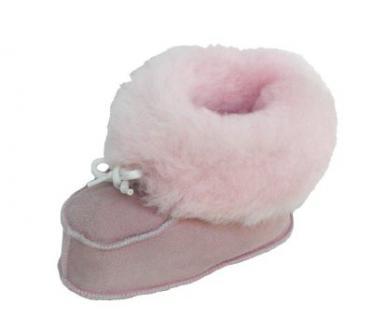 warme Lammfell Babyschuhe rosa mit Fellkragen und Kordel, Gerbung ohne schädliche Stoffe, Gr. 22-23