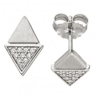 Ohrstecker Dreieck 925 Sterling Silber matt 20 Zirkonia Ohrringe Silberohrringe