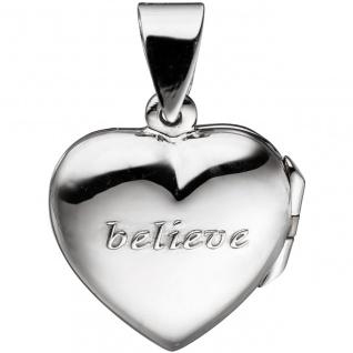 Medaillon Herz für 2 Fotos 925 Sterling Silber Anhänger zum Öffnen