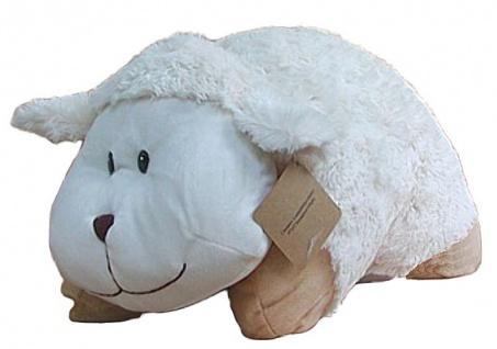 Stofftier Schaf aus Mikrofaser, als Kissen klappbar, voll waschbar, 30 cm lang