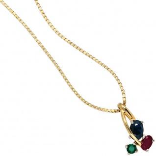 Anhänger 585 Gold Gelbgold bicolor 1 Rubin 1 blauer Safir 1 Smaragd