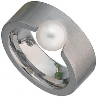 Damen Ring breit Edelstahl matt 1 Süßwasser PerlePerlenring