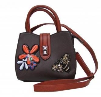 Angel kiss FLOWER kleine freche Handtasche mit Glitzer braun/cognac, Fashion Strap INKA Design, 22x18x10 cm