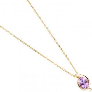 Anhänger 333 Gold Gelbgold 1 Amethyst lila violett Goldanhänger