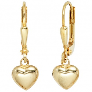 Kinder Boutons Herz 333 Gold Gelbgold Ohrringe Ohrhänger Kinderohrringe - Vorschau 2