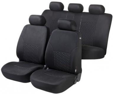 Komplett Set DotSpot komfortable Universal Polyester KFZ Schonbezüge, Bezug 8-tlg. schwarz waschbar, Rücksitzbankbezug 6-tlg