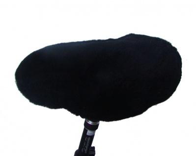 warmer Lammfell Fahrradsattelbezug schwarz, groß, 20 mm geschorenes Lammfell