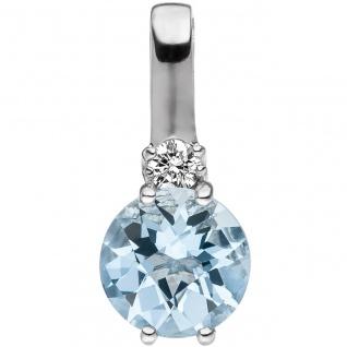 Anhänger 585 Gold Weißgold 1 Diamant Brillant 1 Aquamarin hellblau blau