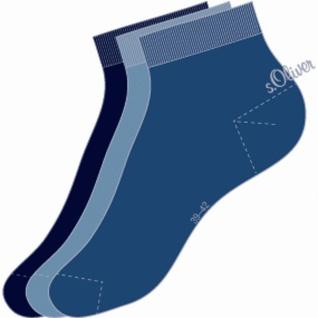 s.Oliver Classic NOS Unisex Quarter, 3er Pack Damen, Herren Socken blau