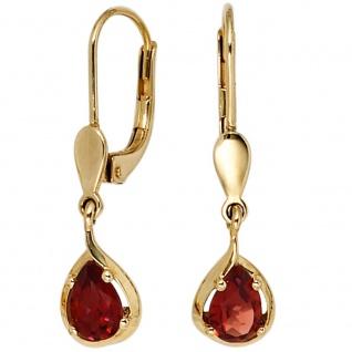 Ohrhänger Tropfen 585 Gold Gelbgold 2 Granate rot Ohrringe Granatohrringe