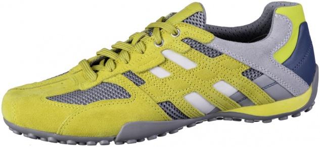 GEOX Herren Leder Sneakers dark yellow, Meshfutter, atmungsaktive Geox Laufsohle