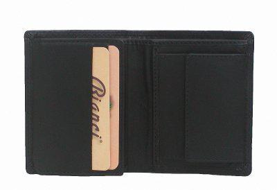 Bianci kleine Herren Leder Geldbörse schwarz, 7xCC, 2 Scheinfächer, EK-Chip, Kleingeldfach, ca. 8x10 cm