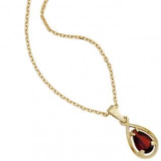 Anhänger Tropfen 333 Gold Gelbgold 1 Granat rot Granatanhänger Goldanhänger